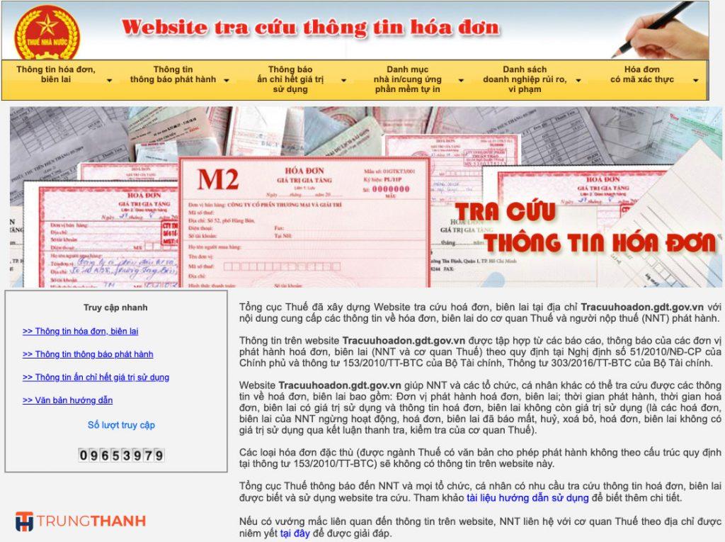 Tra cứu Hóa đơn điện tử GTGT trên trang Tổng Cục Thuế