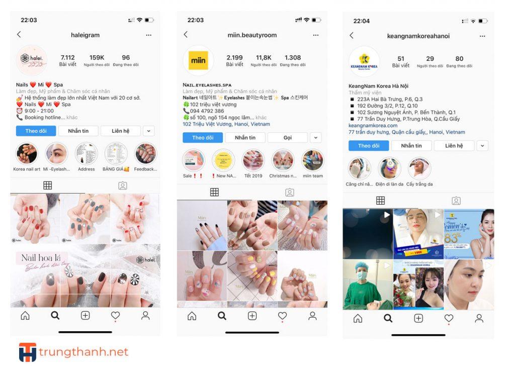 Instagram hình ảnh bắt mắt sẽ thu hút khách hàng quan tâm đến spa.