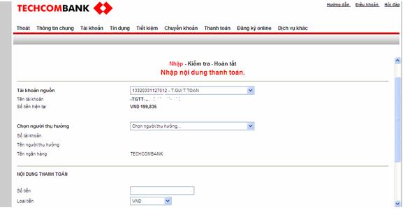 Hướng dẫn sử dụng Internet Banking của Techcombank