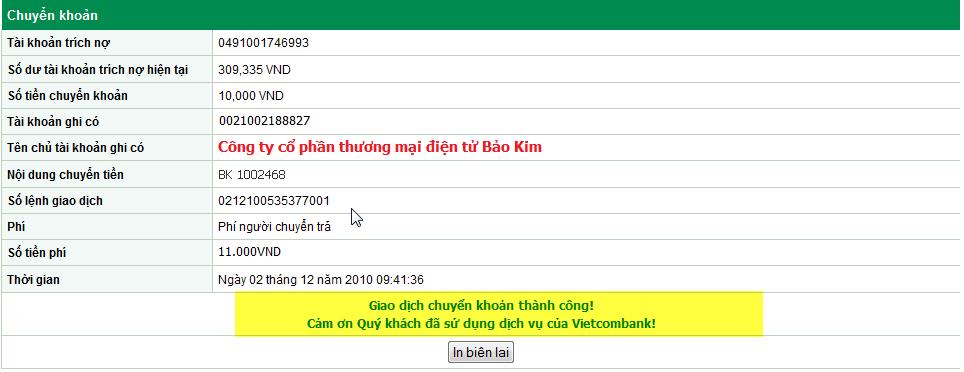 Hướng dẫn sử dụng Internet Banking của ngân hàng Vietcombank